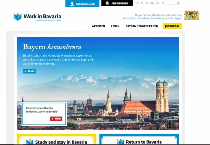 Screenshot der Webseite Work in Bavaria