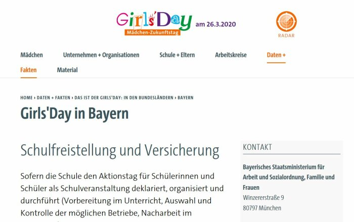 Screenshot der Webseite Girls´Day in Bayern