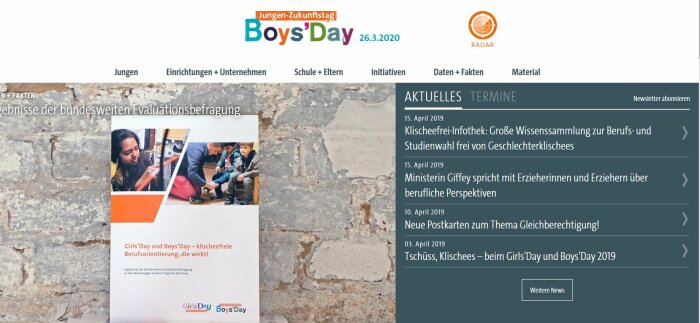 Screenshot der Webseite Boys´Day in Bayern