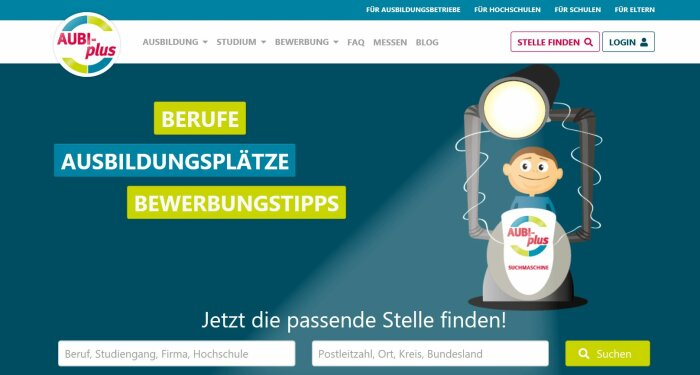 Screenshot der Webseite Aubi Plus
